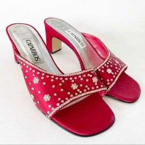Caparros red satin evening shoes sequins 7W